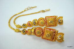Vintage 22kt Gold Earrings With Hair Chain Handmade Traditional Jewellery