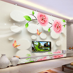 3d Flowers Butterfly Lake 10 Paper Wall Print Wall Decal Wall Deco Indoor Murals