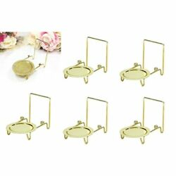 Tea Cup And Saucer Display Stand Teacup Easels Brass Etched Base 6pcs