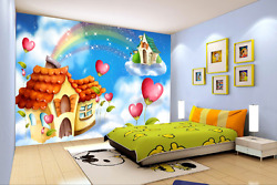 3d Rainbow House Coulds Wall Paper Wall Print Decal Wall Aj Wallpaper Ca