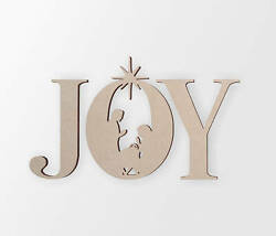 Wooden Sign Joy With Manger Scene In The O - Cut Out, Wall Art, Home Decor