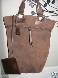 GUCCI Italy Brown Suede Leather Large Drawtop Bucket Bag w Purse NEW! $1300+