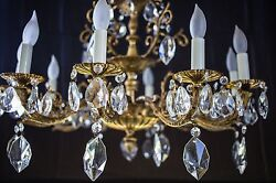 Brass Plated And Glass Chandelier