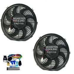 1970-1974 Challenger Bb Radiator Fans,2-12 130w Electric Fans And Relay Kit