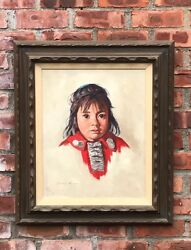 OC Portrait Of Native American Navajo Girl Vanessa Chee. Signed Claudine Morrow