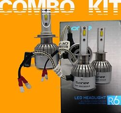 TS R6 F - Series 3800 Lms 36W Xenon Bright White LED Kit H7 and H1 Bulbs