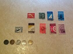 9 Stamps Olympic1936 Ww2 Germany 1p 1940 1936f 1936a 1936j Bronze 1936f Coin