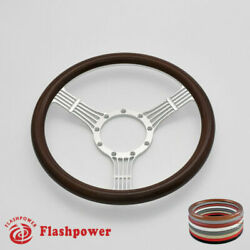 14and039and039 Billet Banjo Steering Wheels Wood Half Wrap For Ford Fairlane Galaxie Ltd