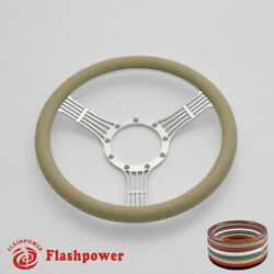 14and039and039 Billet Steering Wheels Tan Half Wrap Replacement Grand Am Lemans Satin