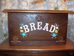 Breadbox Wood Country Vintage Flowers Ooak Shabby Kitchen Large Bread Box