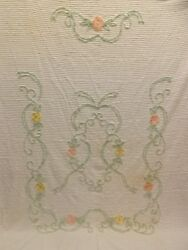Vtg Cottage Chic Floral Chain Wreath Chenille Bedspread 89x106 Cutter Or Not