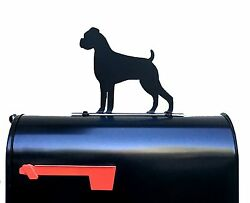 Boxer Dog Silhouette Mailbox Topper Sign Powder Coated Steel Made in USA