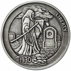 Hobo Nickel Series Graveyard Shift 1 oz .999 Silver Antiqued Round Coin #7