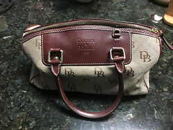 Dooney Bourke Signature Canvas and Leather Barrel Bag