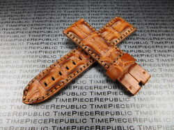24mm Brown Alligator Hornback Strap Leather Watch Band For Pam 1950 X