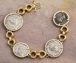 Ancient Roman Four Coin Bracelet Silver Denarius In 14kt Solid Gold And S/s