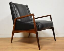 Rosewood and Black Leather Lounge Chair Danish Mid Century Modern
