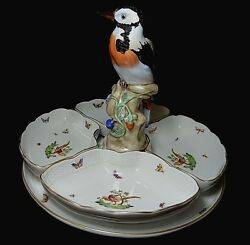 Herend Porcelain 5 Piece Hors Dand039oeuvres Dish Woodpecker Figurine Gold Pheasants