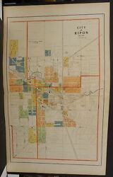Wisconsin Fond Du Lac Couny Map City Of Ripon 1910 2-double Pages J1119