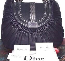 New Authentic Christian Dior Collection Plisse Pleated Leather Bag Italy