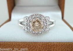 1.08 Carat Fancy Champagne Brown Diamonds Engagement Ring 14k White Gold Halo