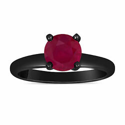 Ruby Solitaire Engagement Ring 1.00 Carat 14k Black Gold Vintage Style Handmade