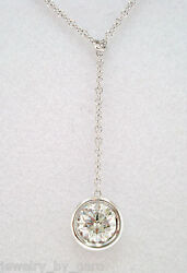 Solitaire Diamond By The Yard Pendant Necklace 0.40 Carat 14k White Gold Bezel