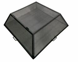34 X 34 Square Carbon Steel Fire Pit Screen With Hinged Access Door