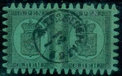 Finland 7 8 Pen, Roulette Iii, Pair W/perfect Teeth Use W/1869 Town Cancel