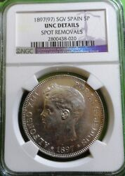 Unc Alfonso Xiii 5 Pesetas 1897 Stars 18-97 Silver Ngc Unc Spain