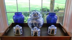 Cobalt Blue Glass Vases W Blue And White Pottery 6 Pcs Series