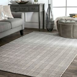 Nuloom Hand Made Contemporary Herringbone Cotton Area Rug In Grey And Ivory