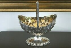 And Co Sterling Silver Sugar Basket/bowl W/swing Handle Gold Wash Interior