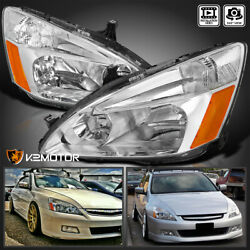 For 2003-2007 Honda Accord Crystal Clear Headlights Turn Signal Lamps Left+right