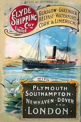 Clyde Steam Ocean Liner Ship Boat Sea Small Metal Tin Sign Picture