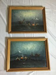 Hector Moncayo One Pair Set Of Oil Paintings On Canvas By Listed Artist
