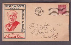 Us 654 2c Edison On Roessler First Day Cover Post Card From Menlo Park Vf 002