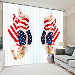 3d Flag Woman Blockout Photo Curtain Printing Curtains Drapes Fabric Window Ca