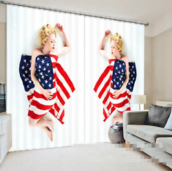3d Woman Flag Blockout Photo Curtain Printing Curtains Drapes Fabric Window Ca