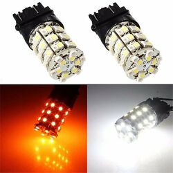 100X Dual color Amber&white 3157 60SMD LED Switchback Turn Signal Light Bulbs