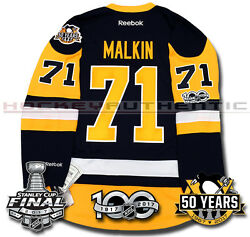 Evgeni Malkin Pittsburgh Penguins 2017 Stanley Cup Jersey Reebok 100th 50th New