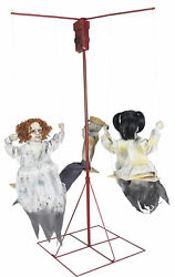 Ghostly Merry Go Round  Animated Prop 3 Victorian Dolls LifeSize Halloween