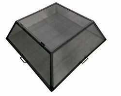 32 X 32 Square Carbon Steel Fire Pit Screen With Hinged Access Door