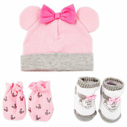 Disney Minnie Mouse Hat Mitts and Socks Take Me Home Gift Set Baby Girls 0-3M