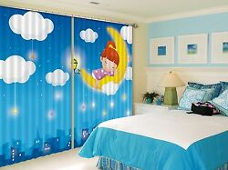 3d Clouds Moon Blockout Photo Curtain Printing Curtains Drapes Fabric Window Ca