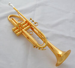Professional Gold Plated Finish Trumpet Horn Germany Yellw Brass With Case