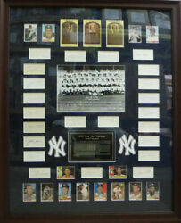1961 NEW YORK YANKEES TEAM AUTOGRAPHED FRAMED CUTS & CARDS 40 SIGS 14567 JSA