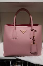 NWT PRADA Saffiano Cuir Double Small Tote Bag Pesco Pink crossbody SOLD OUT