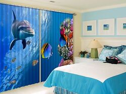3d Dolphin Reef Blockout Photo Curtain Printing Curtains Drapes Fabric Window Au