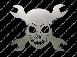 Skull And Cross Wrenches Metal Wall Art Garage Hot Rat Rod Chopper Christmas Gift
